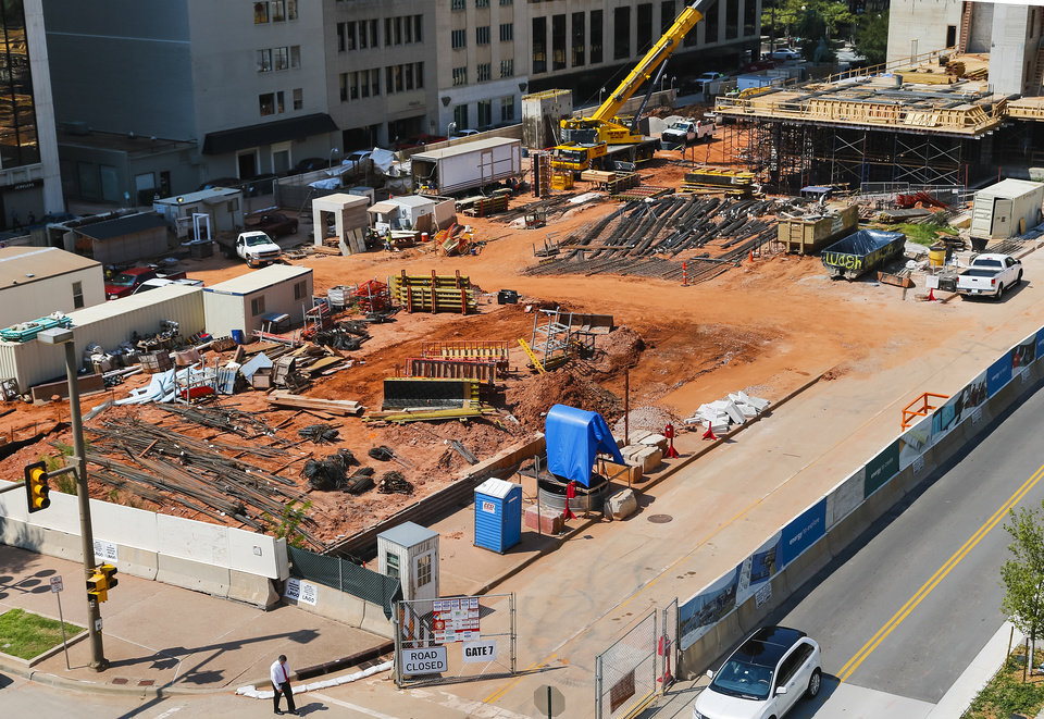 Photo - Crews continue work on what will be the new Kerr Park in downtown Oklahoma City on Tuesday, Aug. 20, 2013, in Oklahoma City, Okla. Photo by Chris Landsberger, The Oklahoman