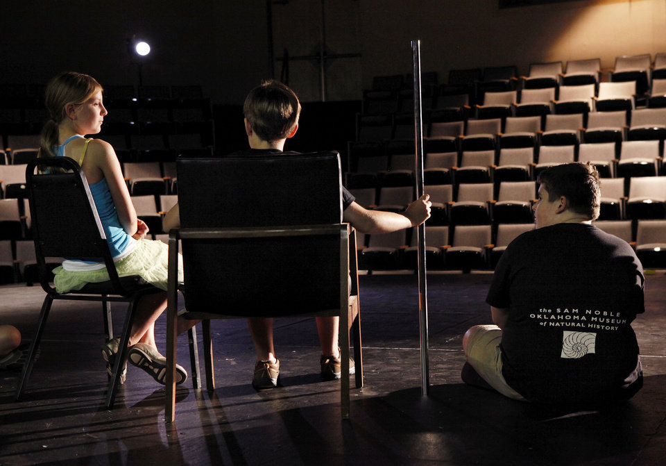 Photo - From left, actors rehearsing are Anna Cook, Liam Larson and Braydon Buzzard, during the 2012 summer arts program at the Mabee-Gerrer Museum of Art on the St. Gregory's University campus in Shawnee.  Photos by Jim Beckel, The Oklahoman