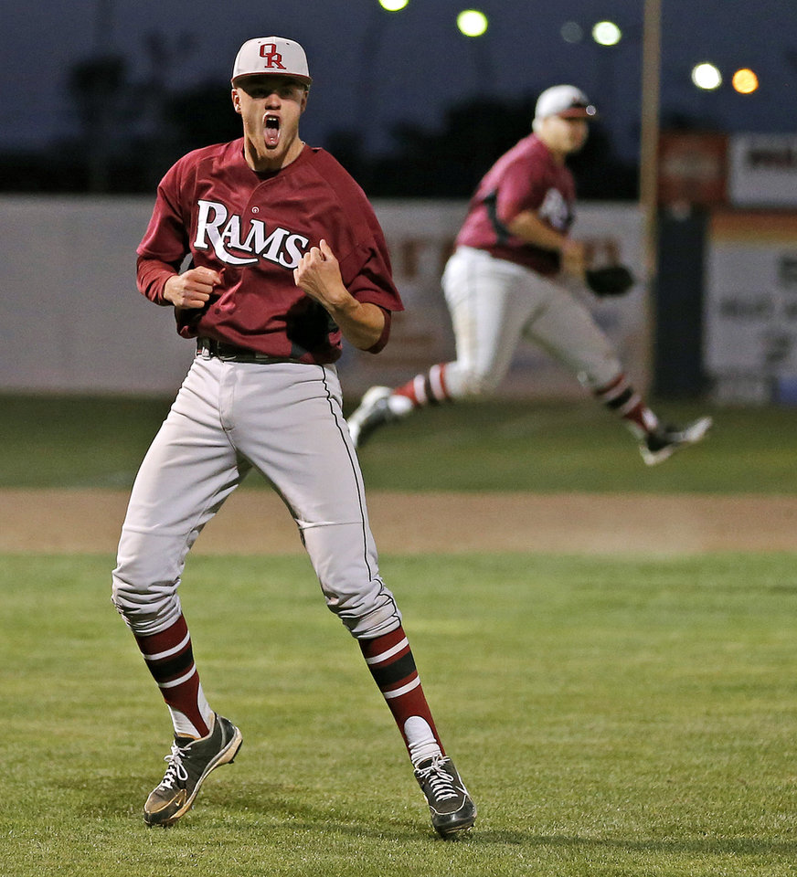 Owasso's Braden Webb celebrates after beating Norman North in the Class 6A state baseball tournament championship game in Shawnee, Okla., Saturday, May 11, 2013. Photo by Bryan Terry, The Oklahoman