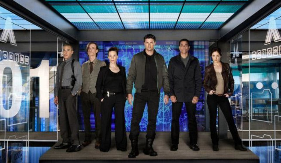 Photo -  ALMOST HUMAN: Executive-produced by Emmy Award winner J.J. Abrams and creator J.H. Wyman and starring Karl Urban (C), Michael Ealy (second from R) and Emmy Award nominee Lili Taylor (R), ALMOST HUMAN is a high-tech, high-stakes action drama set 35 years in the future, when police officers are partnered with highly evolved human-like androids. An unlikely partnership is forged when a part-machine cop (Urban) is forced to pair with a part-human robot (Ealy) as they fight crime and investigate a deeper cover-up in a futuristic new world. ALMOST HUMAN, the high-tech, high-stakes action drama premieres late fall on FOX. Also pictured L-R: Michael Irby, Mackenzie Crook and Minka Kelly. ©2013 Fox Broadcasting Co. Cr: Kharen Hill/FOX