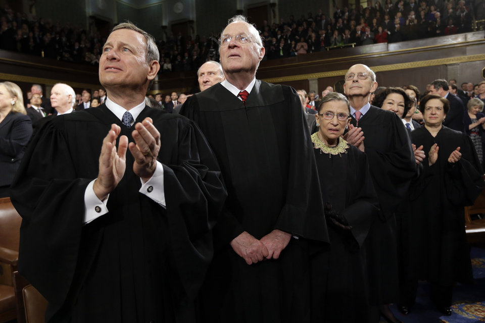 From left, Chief Justice John Roberts and Associate Justices Anthony Kennedy, Ruth Bader Ginsburg, Stephen Breyer, Sonia Sotomayor and Elena Kagan applaud before President Barack Obama's State of the Union address during a joint session of Congress on Capitol Hill in Washington, Tuesday Feb. 12, 2013. (AP Photo/Charles Dharapak, Pool) ORG XMIT: CAP506