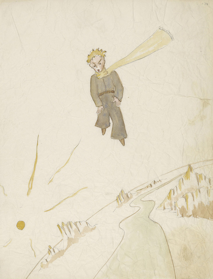 """Photo - This undated photo provided by the Morgan Library and Museum shows a drawing from Antoine de Saint-Exupery's beloved children's tale """"The Little Prince,"""" which is the subject of a major exhibition at the Morgan Library and Museum in New York on the 70th anniversary of the book's publication. (AP Photo/Morgan Library and Museum, Graham S. Haber)"""
