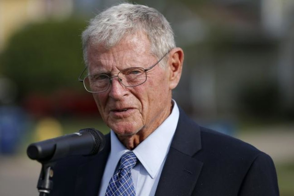 Photo - U.S Sen. Jim Inhofe speaks during a press conference discussing the housing problems at Tinker Air Force Base, Tuesday, Oct. 1, 2019. [Bryan Terry/The Oklahoman]