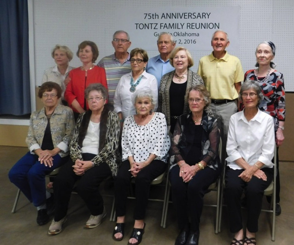 Photo -  Sixteen of Martin and Christina's descendants who were living at the time of the first reunion attended the 75th reunion last month. Some had already gone home before this group photo was taken.  [Photo provided]
