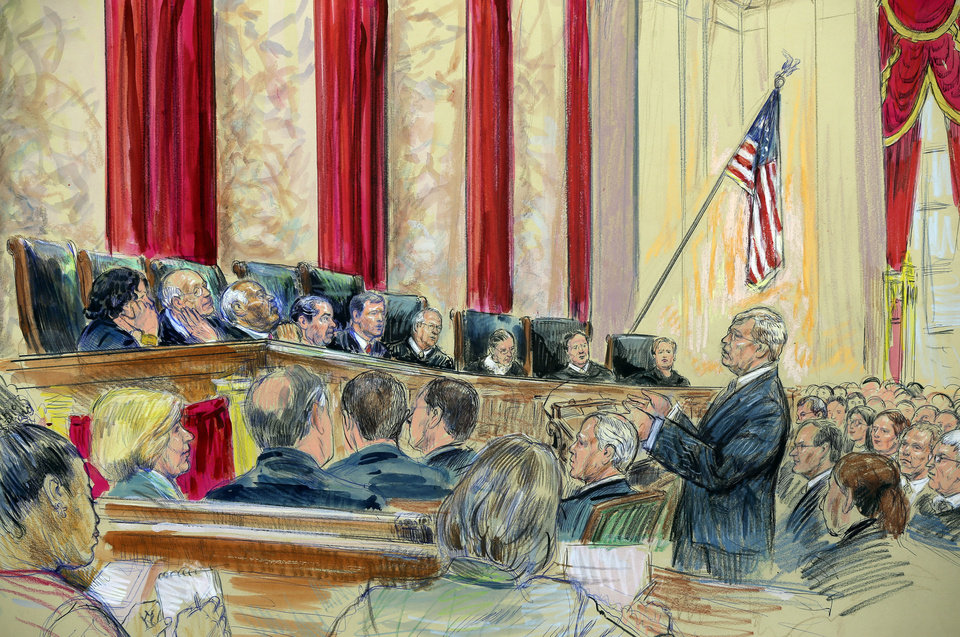 Photo - This artist rendering shows Attorney Theodore Olsen, right, representing the same-sex couples, addresses the Supreme Court in Washington, Tuesday, March 26, 2013, as the court heard arguments on California's ban on same-sex marriage. Justices, from left are, Sonia Sotomayor,  Stephen Breyer, Clarence Thomas, Antonin Scalia, Chief Justice John Roberts, and Justices Anthony Kennedy, Ruth Bader Ginsburg, Samuel Alito and Elena Kagan. Ten years ago, same-sex marriage was legal nowhere in the United States. It's now allowed in nine states, with several more in the pipeline, yet many other states seem unlikely to follow suit unless forced to by Congress or the Supreme Court. It seems like a recipe for long-term conflict, but President Barack Obama and other Democratic Party leaders are now firmly ensconced in the ranks of gay-marriage supporters, and national opinion polls suggest that's now the prevailing view among the public. (AP Photo/Dana Verkouteren)