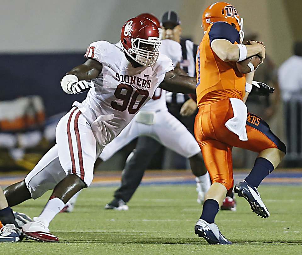 Photo - Oklahoma Sooners defensive end David King (90) sacks UTEP quarterback Nick Lamaison (7) during the college football game between the University of Oklahoma Sooners (OU) and the University of Texas El Paso Miners (UTEP) at Sun Bowl Stadium on Saturday, Sept. 1, 2012, in El Paso, Tex.  Photo by Chris Landsberger, The Oklahoman