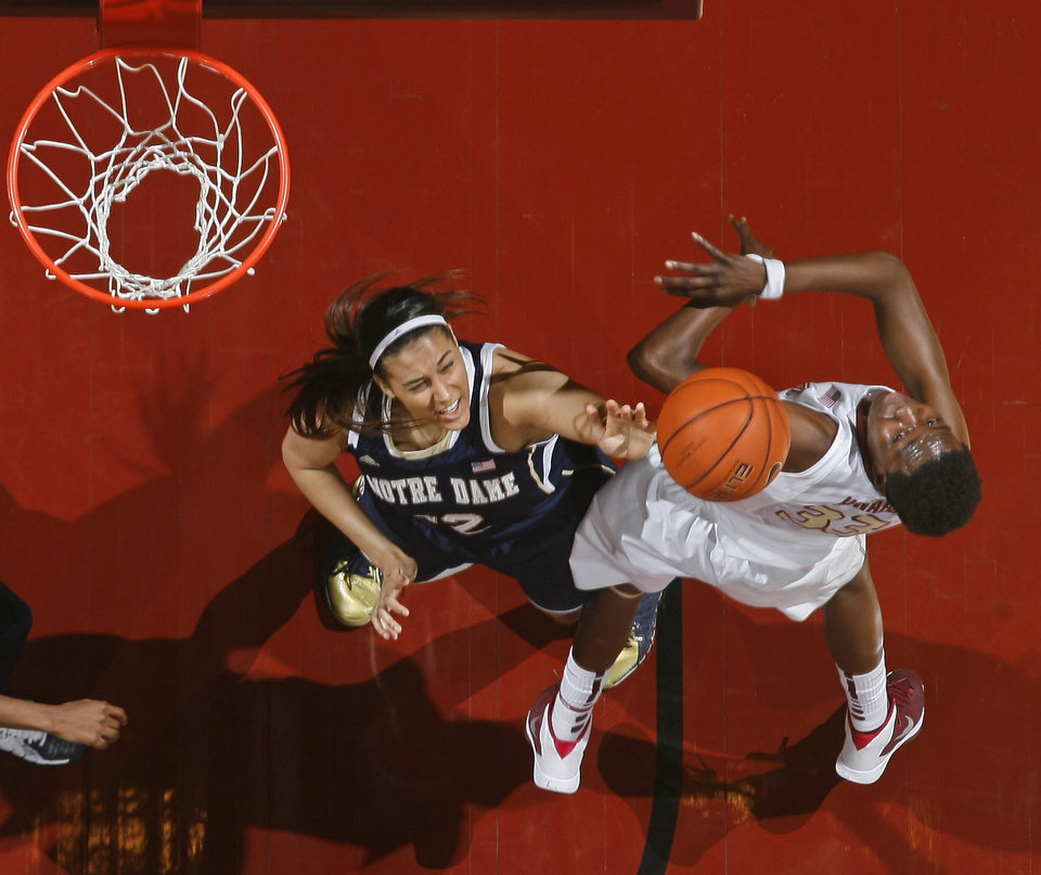 Photo - Notre Dame forward Taya Reimer (12) rejects a layup attempt by Florida State forward Natasha Howard (33) in the first half of an NCAA college basketball game, Thursday, Feb. 6, 2014, in Tallahassee, Fla. (AP Photo/Phil Sears)
