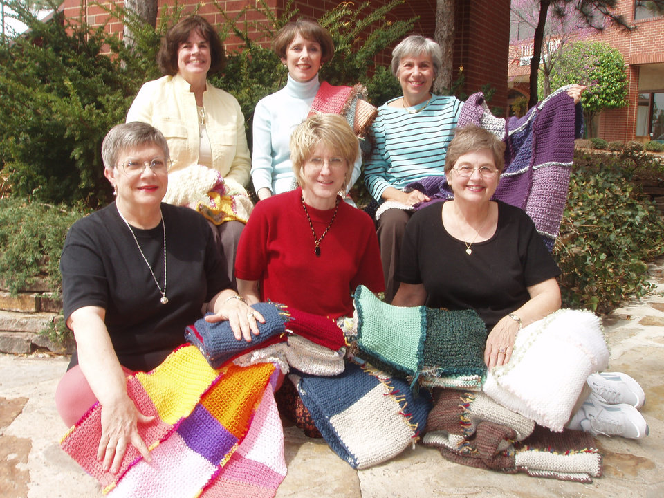 Knit-Wits: Back row, left to right: Joyce Stewart, Cheryl Melton, Janice Segell. Front row, left to right: Martha Van Hook, Margaret Bauer, Ann Truscott (Jan Ephraim not pictured).<br/><b>Community Photo By:</b> Nancy Woodard<br/><b>Submitted By:</b> Nancy, Oklahoma City