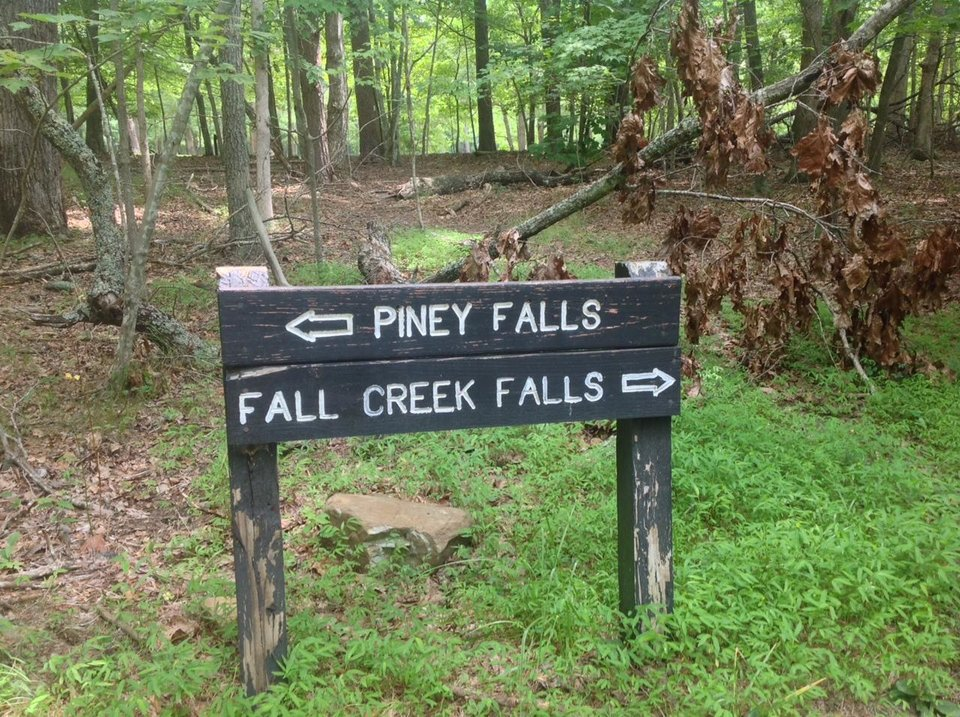 Photo - Directional sign for the hikers.  There are several spectacular waterfalls in the park on your trek through the woods. Photo by Carla Meadows