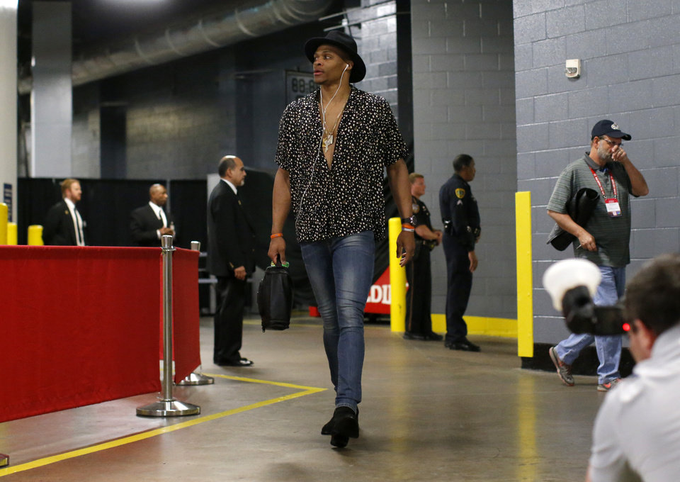 Photo - Oklahoma City's Russell Westbrook (0) arrives before Game 5 in the first round of the NBA playoffs between the Oklahoma City Thunder and the Houston Rockets in Houston, Texas,  Tuesday, April 25, 2017.  Houston won 105-99. Photo by Sarah Phipps, The Oklahoman