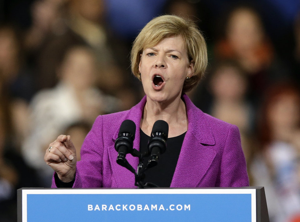 Wisconsin Democratic U.S. Senate candidate Tammy Baldwin speaks at a rally for President Barack Obama Saturday, Nov. 3, 2012, in Milwaukee. (AP Photo/Morry Gash)