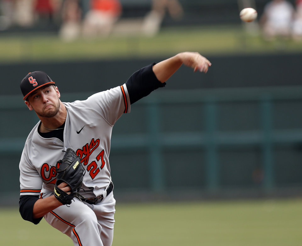 OU / OSU / COLLEGE BASEBALL: Oklahoma State's Tyler Nurdin throws a pitch during the Bedlam baseball game between the University of Oklahoma and Oklahoma State University at the Chickasaw Bricktown Ballpark in Oklahoma CIty, Saturday, May 11, 2013. Photo by Sarah Phipps, The Oklahoman