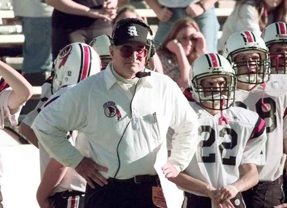 Photo -  Joe Tunnell, pictured in 1998 coaching the Rush Springs football team, died last week at age 83. In 41 years coaching high school football, he went 322-137-7. [OKLAHOMAN ARCHIVES]