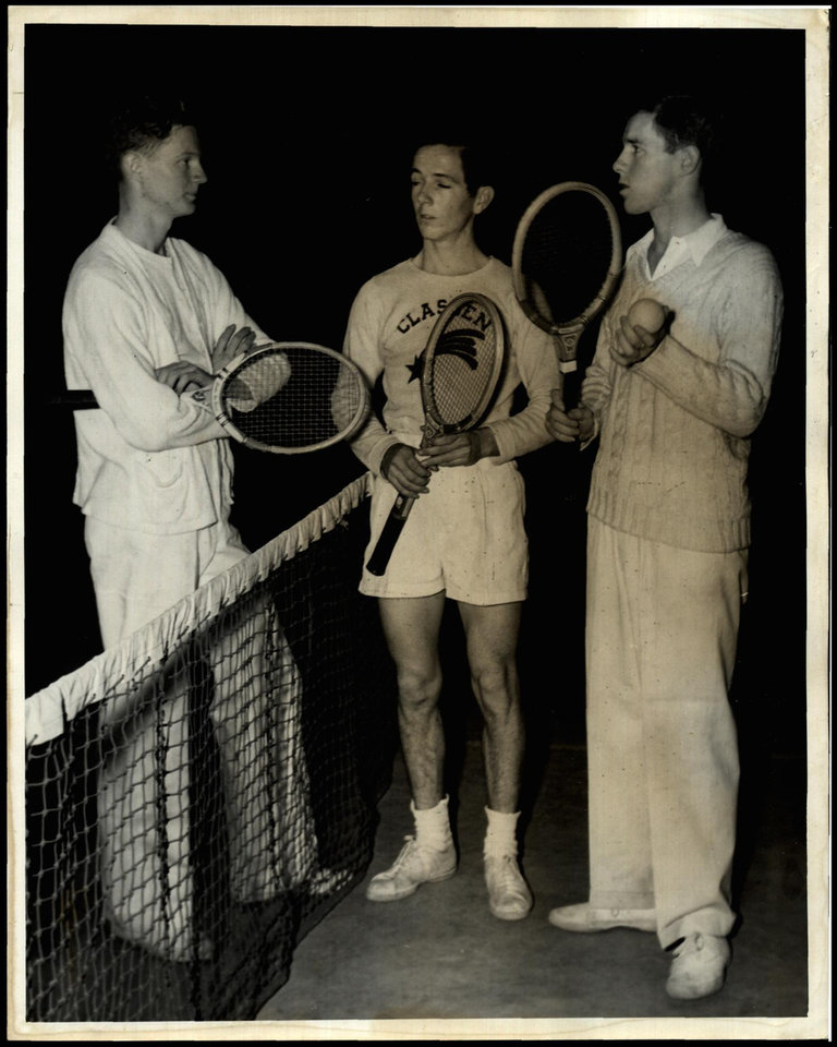 Photo -  Don McNeill, right, is a member of the inaugural class of the Oklahoma City Public Schools Sports Hall of Fame. Seen here in 1939 with fellow Oklahoma City players Billy McMurry, left, and Carl Mitchell, McNeill was a standout at Classen, then went on to win the French Open in 1939 and the U.S. Open in 1940. [OKLAHOMAN ARCHIVES]