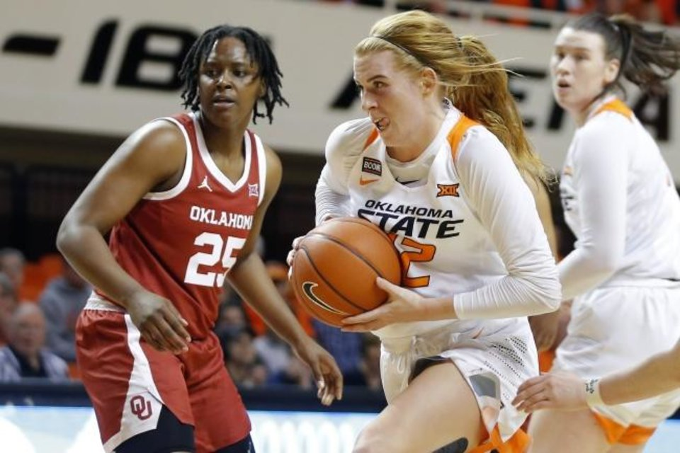 Photo -  Oklahoma State's Vivian Gray, right, goes past Oklahoma's Madi Williams during Wednesday night's Bedlam women's basketball game at Gallagher-Iba Arena in Stillwater. OU beat the Cowgirls 77-75. [Bryan Terry/The Oklahoman]