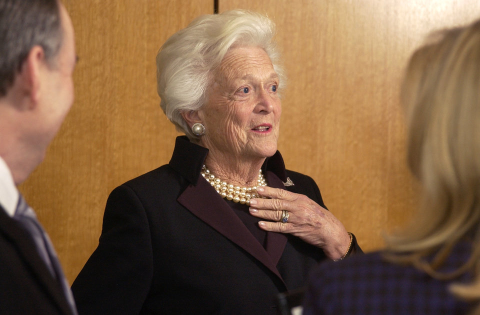 Photo - Oklahoma City, OK. 1/19/04 Former First Lady Barbara Bush speaks to people at a reception at the National Cowboy and Western Heritage Museum as part of a literacy awareness program for local schools. Staff photo by Paul Hellstern