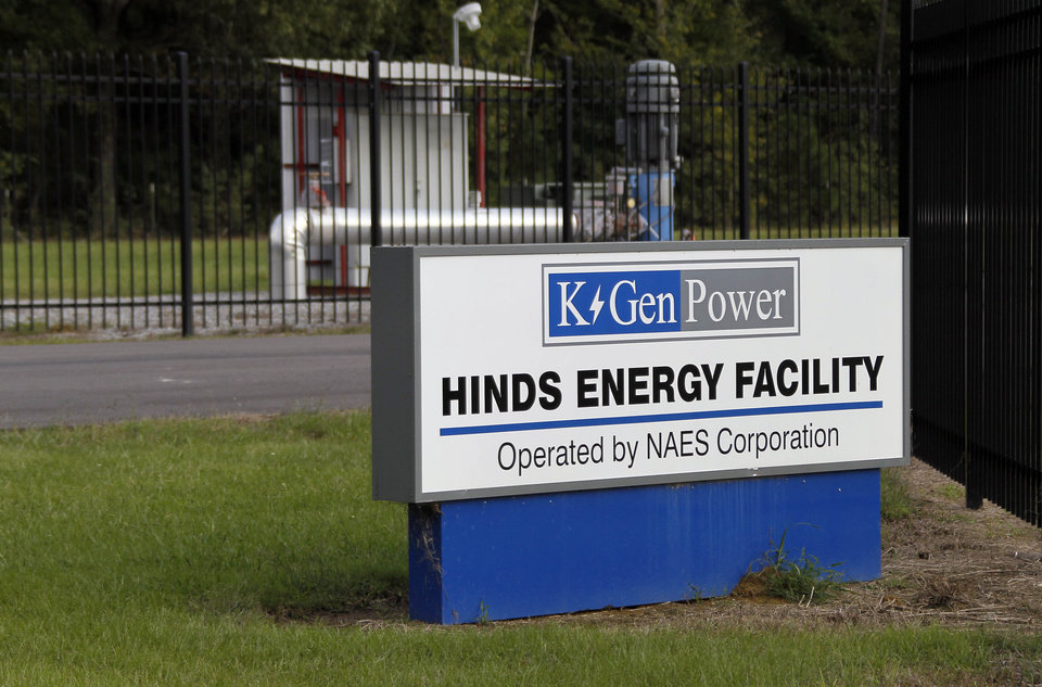 This Oct. 3, 2012 photograph shows the entrance to the KGen Power Corporation natural gas-fired plant in Jackson, Miss. The plant may one day be owned by the New Orleans-based utility, Energy Corporation, as part of larger purchase, if allowed by the U.S. Justice Department, which has reservations about the purposed purchase. (AP Photo/Rogelio V. Solis)