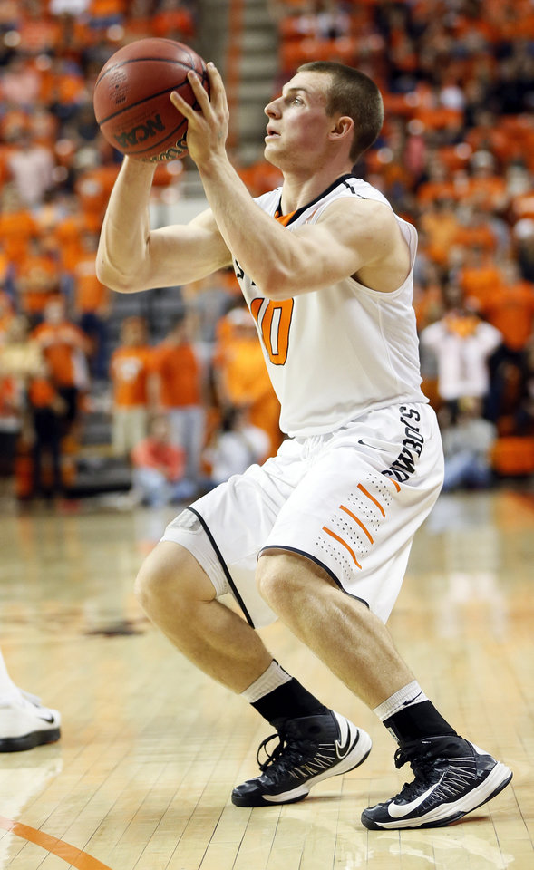 Oklahoma State's Phil Forte (10) takes a 3-point shot during a men's college basketball game between Oklahoma State University (OSU) and Texas Tech at Gallagher-Iba Arena in Stillwater, Okla., Saturday, Jan. 19, 2013.  Photo by Nate Billings, The Oklahoman