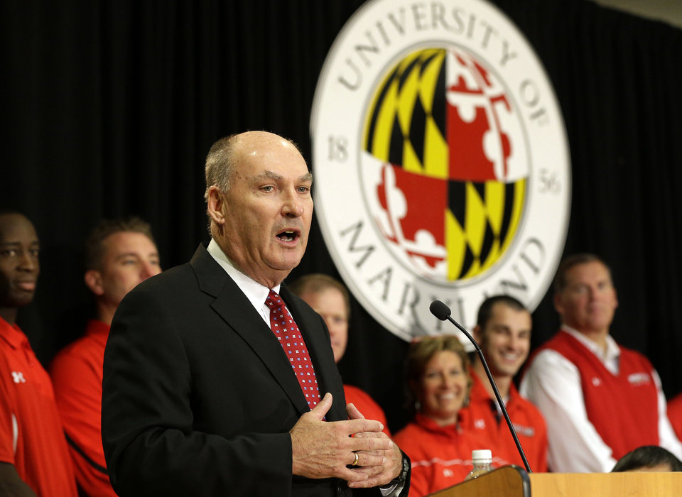 Big Ten Commissioner James Delany speaks at a news conference to announce the University of Maryland's decision to move to the Big Ten in College Park, Md., Monday, Nov. 19, 2012. Maryland is joining the Big Ten, leaving the Atlantic Coast Conference in a shocker of a move in the world of conference realignment that was driven by the school's budget woes. (AP Photo/Patrick Semansky)