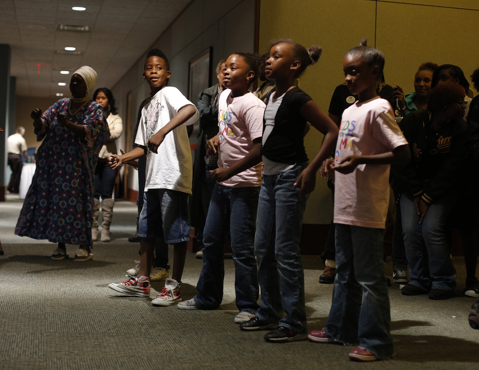 Children dance during the Oklahoma Democratic Party watch gathering at the Reed Center in Midwest City, Tuesday, Nov. 6, 2012.  Photo by Garett Fisbeck, The Oklahoman