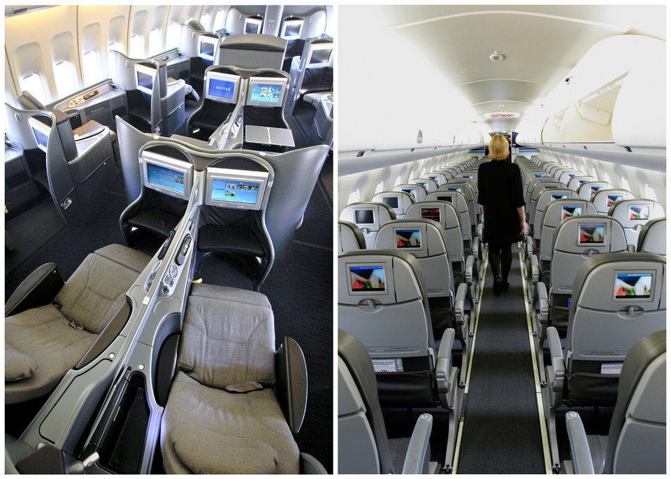 "This combination of Associated Press file photos show, on the left, a first class interior section of a United Airlines 747 plane at San Francisco International Airport in San Francisco in 2011, and on the right, the coach interior section of  a JetBlue E190 plane at  Seatac International Airport in Seattle, in 2008.  Henry Harteveldt, an airline analyst with Hudson Crossing says ""First class has become a way for a traveler to have an almost private jet-like experience."" (AP Photo/File)"