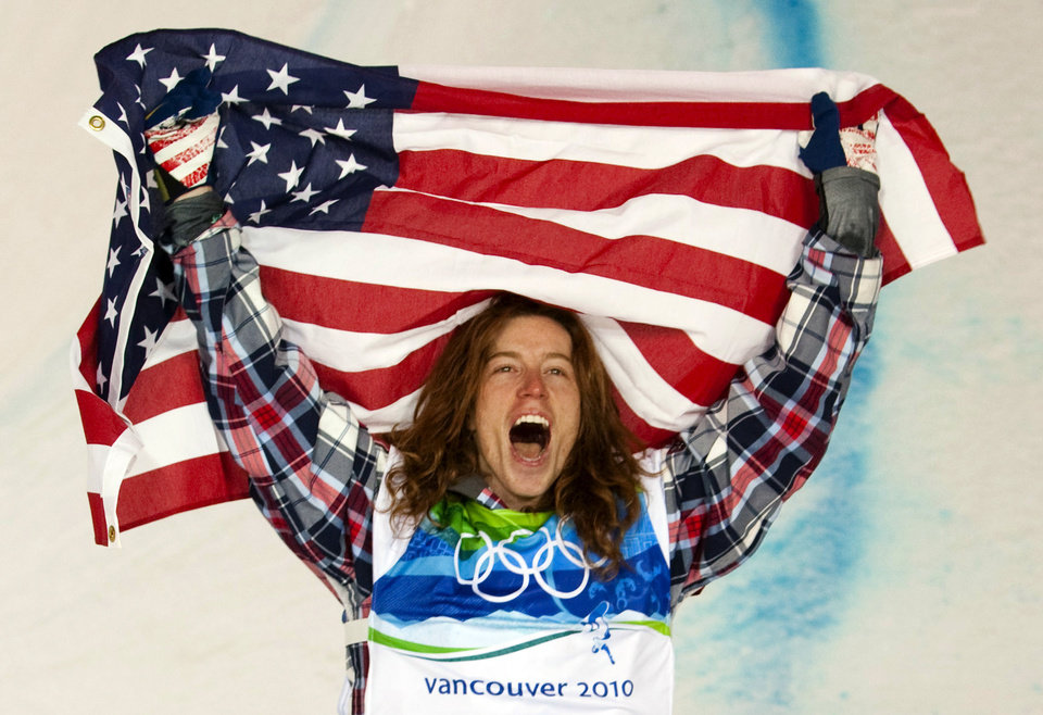 Photo - FILE - In this Feb. 17, 2010, file photo, Shaun White of the United States celebrates his gold medal in the men's snowboard halfpipe at Cypress Mountain in West Vancouver, Brtish Columbia, at the 2010 Vancouver Olympic Winter Games. White said Wednesday, Feb. 5, that he is pulling out of the Olympic slopestyle contest to focus solely on winning a third straight gold medal on the halfpipe. (AP Photo/The Canadian Press, Sean Kilpatrick, File)