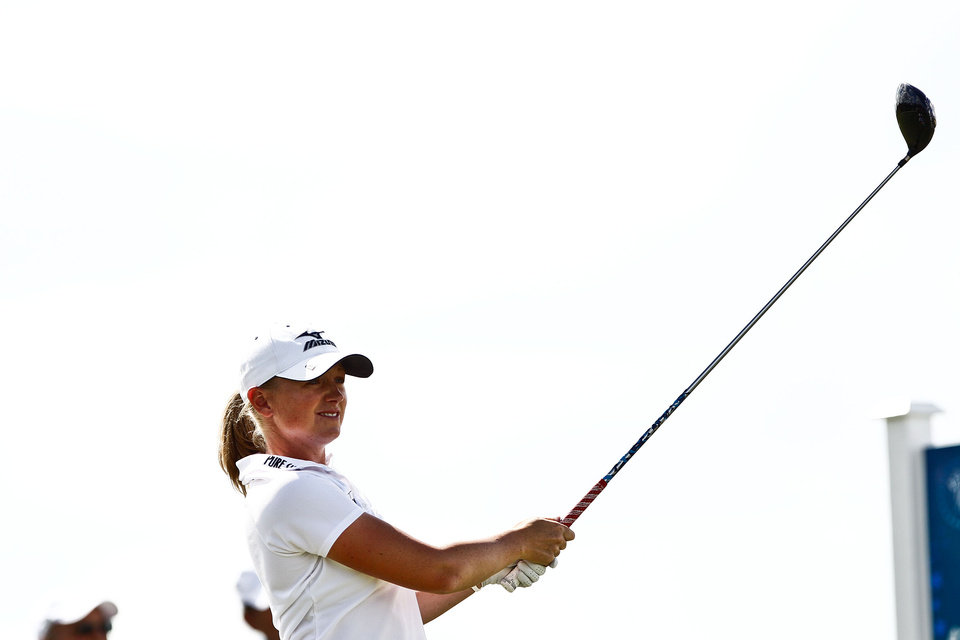 LPGA pro Stacy Lewis tees off during day two of pro-am action at the CME Group Titleholders on Wednesday, Nov. 14, 2012, at Twin Eagles Golf Club in Naples, Fla. (AP Photo/Naples Daily News, Scott McIntyre) FORT MYERS OUT