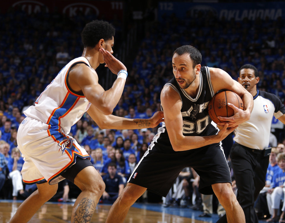 Photo - Oklahoma City's Jeremy Lamb (11) defends against San Antonio's Manu Ginobili (20) during Game 3 of the Western Conference Finals in the NBA playoffs between the Oklahoma City Thunder and the San Antonio Spurs at Chesapeake Energy Arena in Oklahoma City, Sunday, May 25, 2014. Photo by Bryan Terry, The Oklahoman