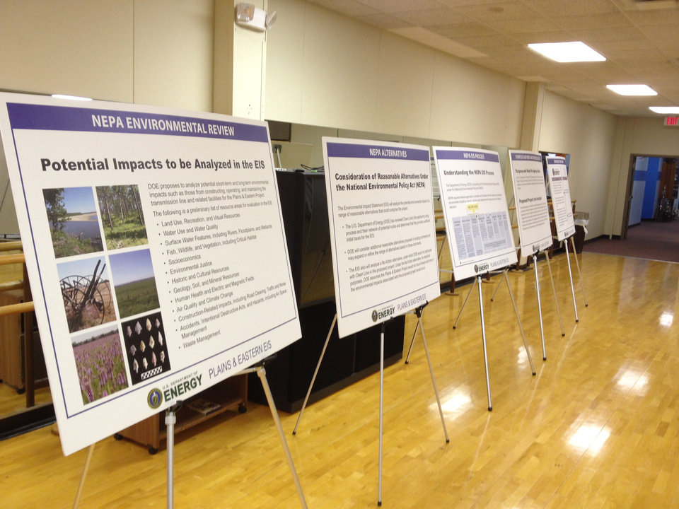 A series of posters are shown in Cushing on Tuesday, Feb. 5, 2013, at a public forum on the possible environmental impacts of Clean Line Energy Partner's proposed high-voltage, direct-current transmission line from the Oklahoma Panhandle to Tennessee. <strong>Paul Monies - The Oklahoman</strong>