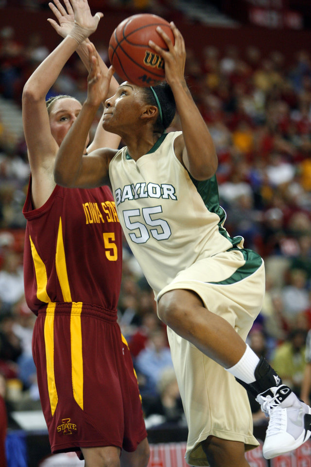 Morghan Medlock (55) drives against Nicky Wieben (5) during the first half of the 2009 Big 12 Women's Basketball Championship game between Baylor University and Iowa State in the Cox Convention Center in Oklahoma City, Oklahoma, on Saturday, March 14, 2009. PHOTO BY STEVE SISNEY, THE OKLAHOMAN