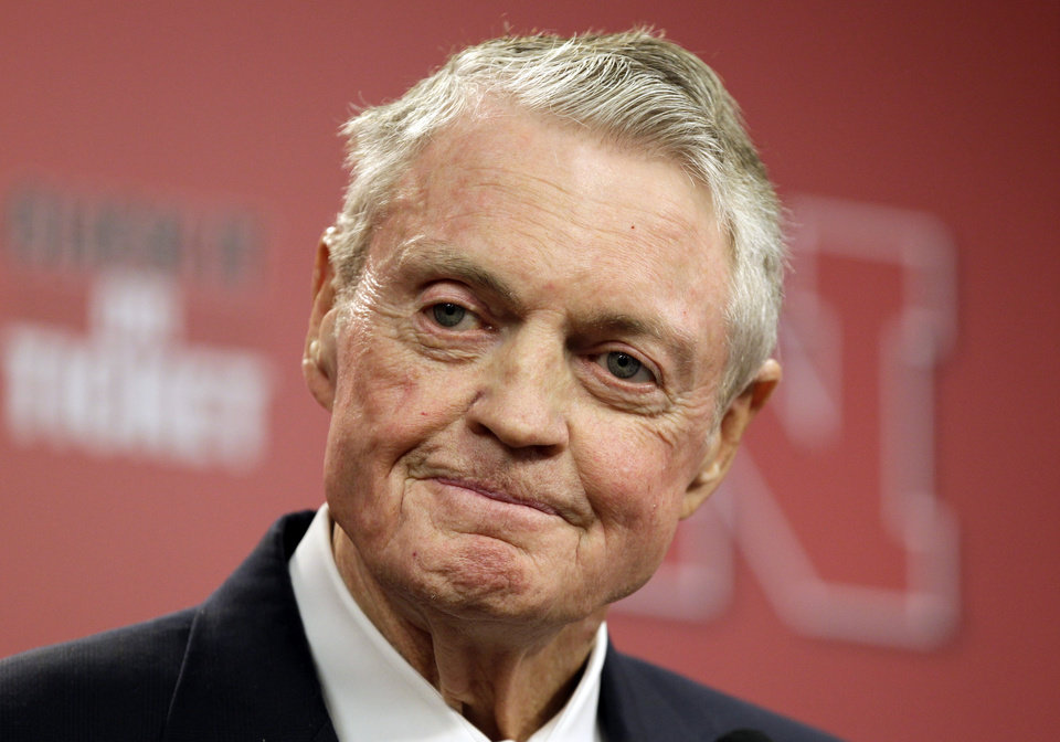 Photo - FILE - In this Sept. 26, 2012 file photo, Nebraska athletic director Tom Osborne announces his retirement as of Jan. 1, 2013, during a news conference in Lincoln, Neb. Osborne's retirement ends an association with the university that began in 1962. (AP Photo/Nati Harnik, File)