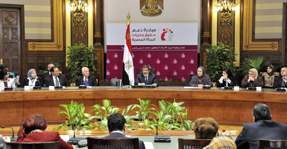 "Photo - In this image released by the Egyptian Presidency, Egyptian President Mohammed Morsi speaks at a conference on women's rights held at the Presidential palace in Cairo, Egypt, Sunday March 24, 2013. Egypt's president delivered a stern warning to his opponents on Sunday, saying he may be close to taking unspecified measures to ""protect this nation"" two days after supporters of his Muslim Brotherhood and opposition protesters fought street battles in the worst bout of political violence in three months. (AP Photo/Egyptian Presidency)"