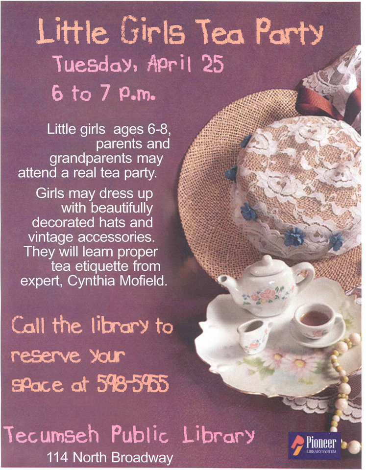 This is a promotional flier for a Tecumseh Library event. Community Photo By: Galyn Cresap Submitted By: Galyn,