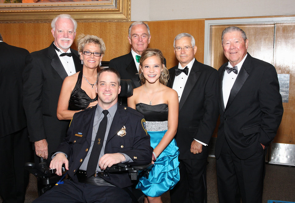 Photo -  Greg, Jan and Chad Peery, seated, Jim Daniel, Mckinsey Peery, Gene Downing and William Thorpe were among the special guests.