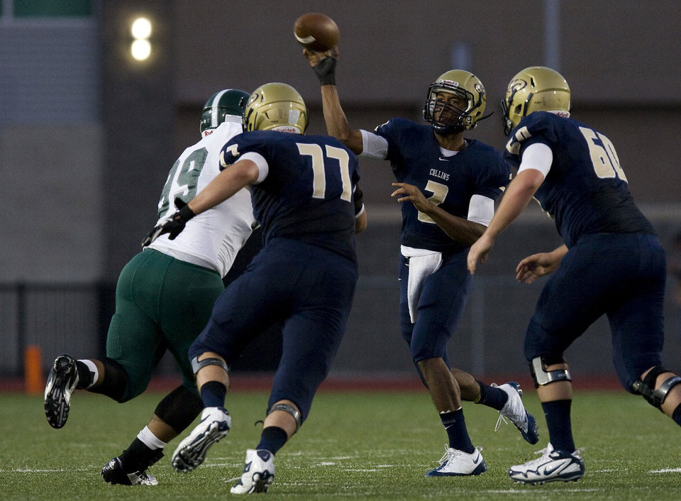 Jordan Thomas (2) of Klein Collins throws a pass to Ryan Kozar near the endzone at Memorial Stadium on Saturday, Sept. 21, 2013, in Klein. PHOTO COURTESY HOUSTON COMMUNITY NEWSPAPERS <strong>Joe Buvid</strong>