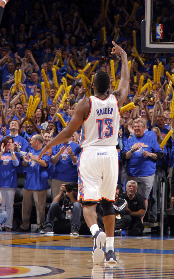 Photo - Oklahoma City's James Harden (13) celebrates a three-pointer during game 7 of the NBA basketball Western Conference semifinals between the Memphis Grizzlies and the Oklahoma City Thunder at the OKC Arena in Oklahoma City, Sunday, May 15, 2011. Photo by Sarah Phipps, The Oklahoman