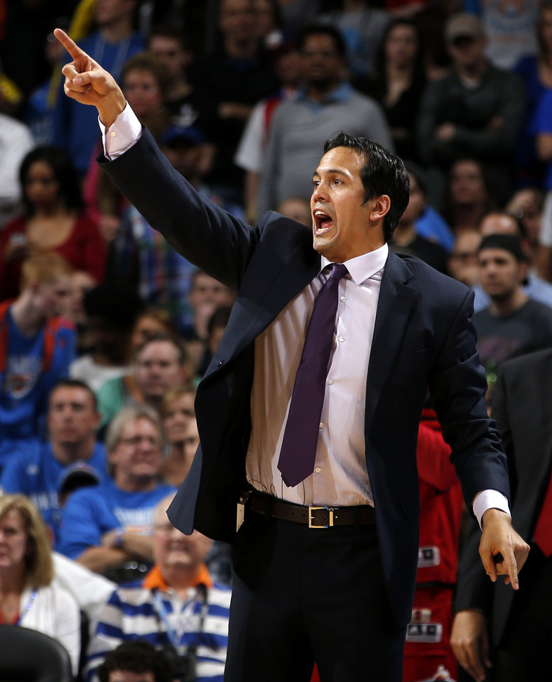 Miami coach Erik Spoelstra shouts instructions during an NBA basketball game between the Oklahoma City Thunder and the Miami Heat at Chesapeake Energy Arena in Oklahoma City, Thursday, Feb. 15, 2013. Miami won 110-100. Photo by Bryan Terry, The Oklahoman