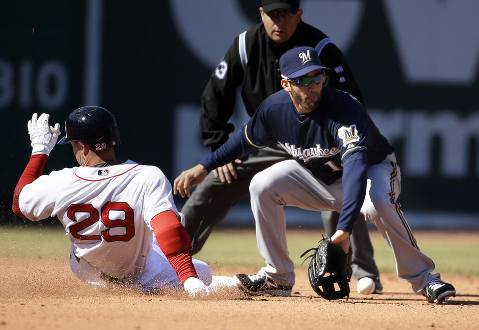 Photo - Boston Red Sox's Daniel Nava, left, slides safe at second base on a double hit as Milwaukee Brewers' Jeff Bianchi, right, waits for the ball in the fifth inning of a baseball game Sunday, April 6, 2014, in Boston. (AP Photo/Steven Senne)