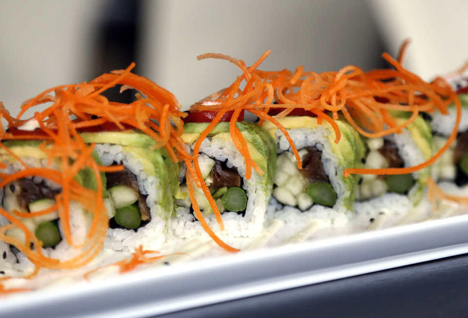 Photo - A vegetable roll is pictured at Cafe Icon in Edmond. Photo by Sarah Phipps, The Oklahoman  SARAH PHIPPS - SARAH PHIPPS