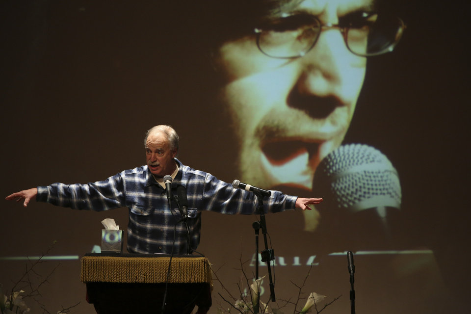 Photo - David Isenberg, founder of Freedom to Connect speaks during the memorial service for Aaron Swartz, Saturday, Jan. 19, 2013 in New York. Friends and supporters of Aaron Swartz paid tribute Saturday to the free-information activist and online prodigy, who killed himself last week as he faced trial on hacking charges. (AP Photo/Mary Altaffer)
