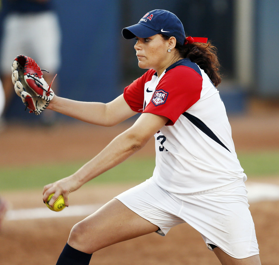 Sara Nevins (32) pitches for the United States during a game between Team USA and Canada in the World Cup of Softball at ASA Hall of Fame Stadium in Oklahoma City, Thursday, July 11, 2013. Team USA won 7-0 in 6 innings. Photo by Nate Billings, The Oklahoman