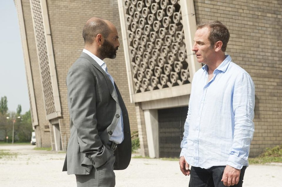 """Photo -  Zubin Varla (l.) and Robson Green (r.) in Cinemax's hit action series """"Strike Back."""" - Photo by Liam Daniel/Cinemax"""