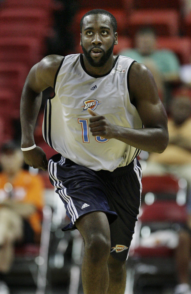 Photo - Oklahoma City Thunder's James Harden makes his way down the court during NBA Summer League basketball game against the Chicago Bulls at Thomas & Mack Arena in Las Vegas on Friday, July 17, 2009. (AP Photo/Laura Rauch) ORG XMIT: NVLR106