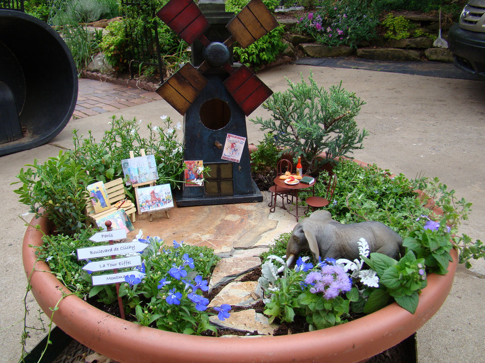 This is Jennifer Crotty's Moulin Rouge themed miniature fairy garden. Photo provided.