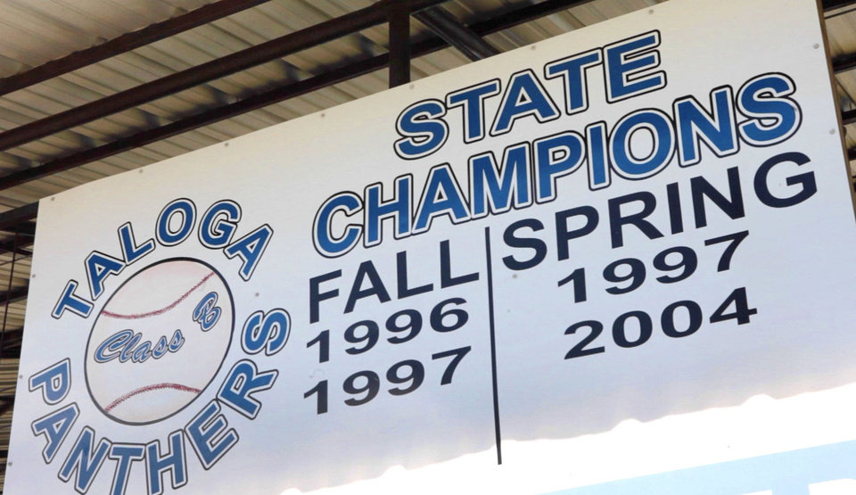 Photo - Taloga High School no longer offers baseball but achieved success through the years. This sign is at the field. Jordy Mercer of the Pitsburgh Pirates played for the 2004 State Champion team. PHOTO BY DAVID MCDANIEL, THE OKLAHOMAN   David McDaniel - The Oklahoman