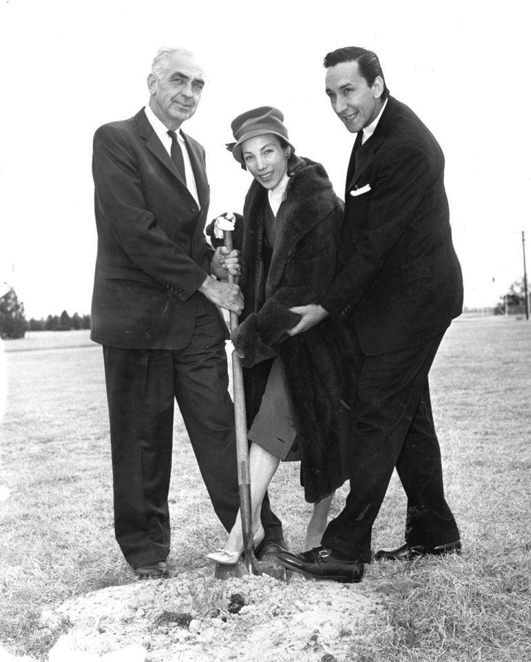 Photo -  From left, philanthropist John E. Kirkpatrick, and Yvonne Chouteau and her husband Miguel Terehkov, internationally noted ballet stars, appear at a ceremonial groundbreaking event in 1962. The trio were instrumental in starting the Oklahoma City Civic Ballet, the predecessor of Oklahoma City Ballet. [Oklahoman Archives photo]