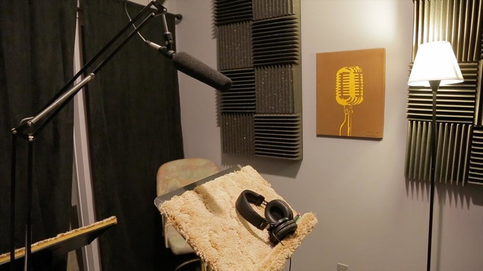 Photo -  Connor Quinn records audio at RK-1 Productions in Oklahoma City. [Photos by Luke Spencer, The Oklahoman]