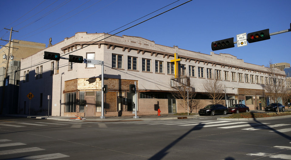 Photo - The Main Street Arcade, 629 W Main, formerly home to the Downtown Baptist Church, was bought Wednesday by David Wanzer who intends to redevelop the property.  Bryan Terry