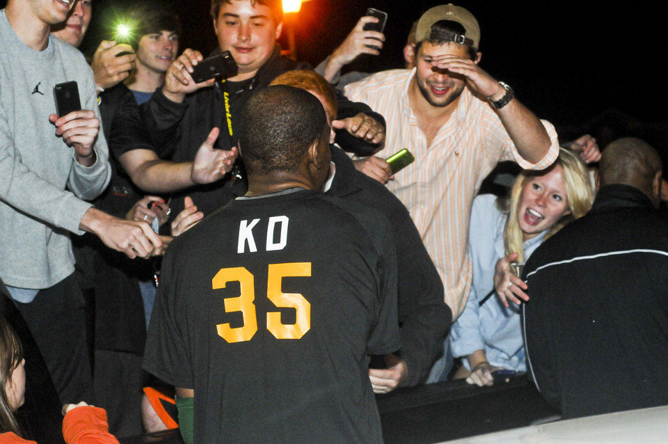 Kevin Durant signs autographs after an intramural flag football game with Sigma Nu fraternity at Oklahoma State University, Oct. 31, 2011. Photo by KT King, with permission. (@shuttrking)