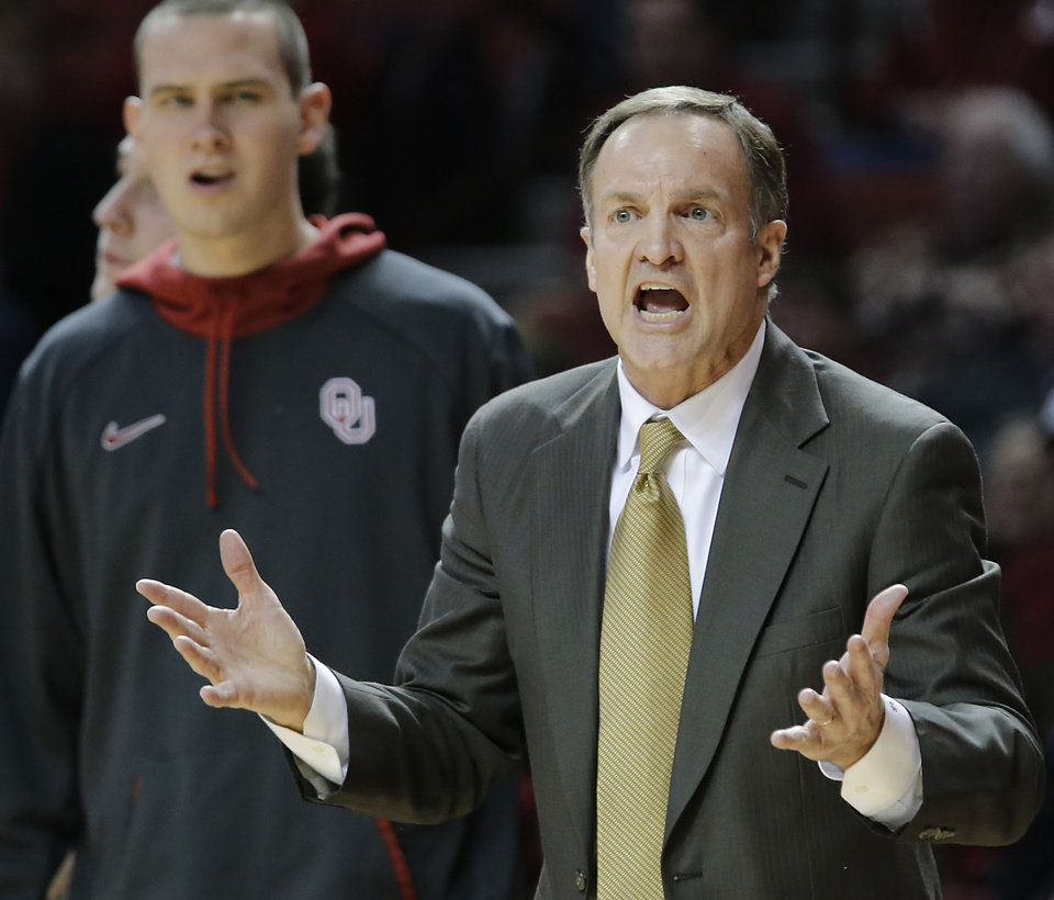 Oklahoma coach Lon Kruger reacts to a call by the officials during the second half of the college basketball game between the University of Oklahoma Sooners (OU) and the West Virginia University Mountaineers (WVU) at the Lloyd Noble Center on Wednesday, March 6, 2013, in Norman, Okla. Photo by Chris Landsberger, The Oklahoman